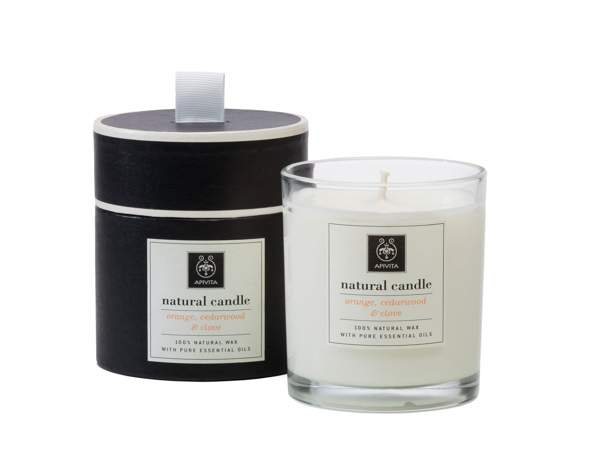 Apivita Natural Candle Orange, Cedarwood & Clove Φυσικό Κερί με αιθέρια έλαια από Πορτοκαλί, Σανδαλόξυλο & Γαρύφαλο, 235gr