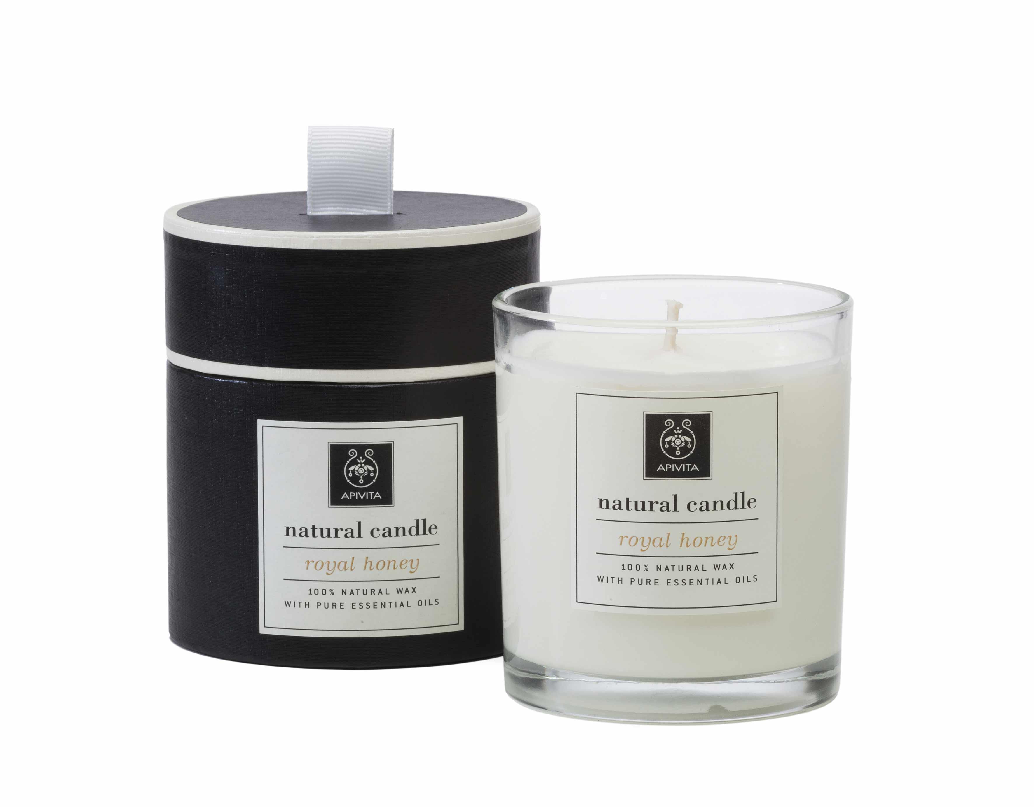 Apivita Natural Candle Royal Honey Φυσικό Κερί με αιθέρια έλαια & Μέλι, 235gr