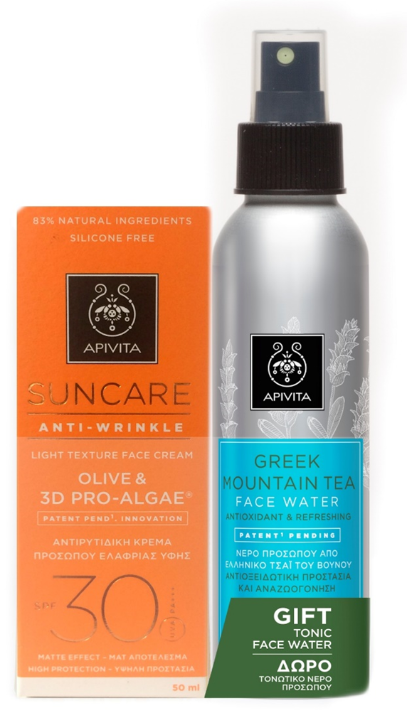 Apivita Suncare Anti-Wrinkle Light Texture Face Cream SPF 30, 50ml & GIFT Apivita Greek Mountain Tea Face Water, 100ml