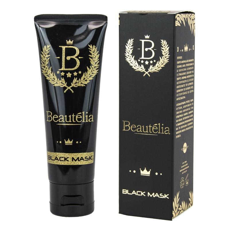 Powerpharm Beautelia Black Mask Μαύρη Μάσκα Προσώπου για βαθύ καθαρισμό, 75ml