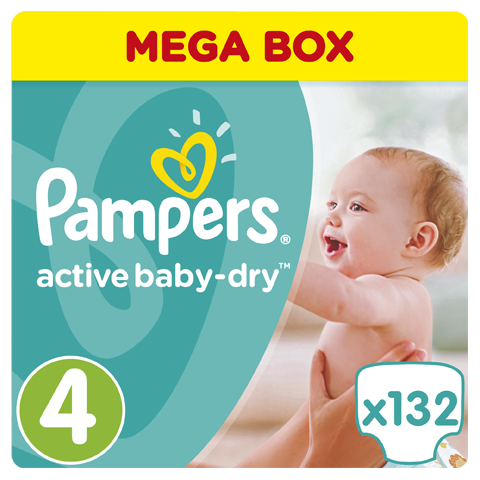 Pampers Active Baby Dry Mega Pack No.4 Maxi (8-14 kg) Βρεφικές Πάνες, 132 τεμάχια