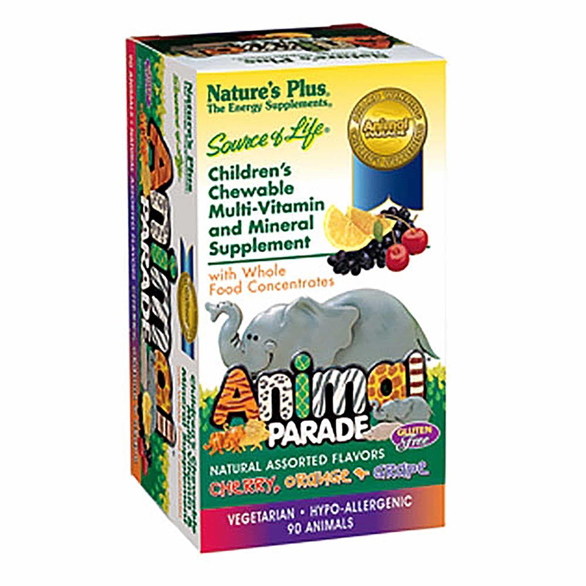 Nature's Plus Animal Parade Assorted Πολυβιταμινούχα Ζελεδάκια για Παιδιά, σε διάφορες γεύσεις, 90 gummies