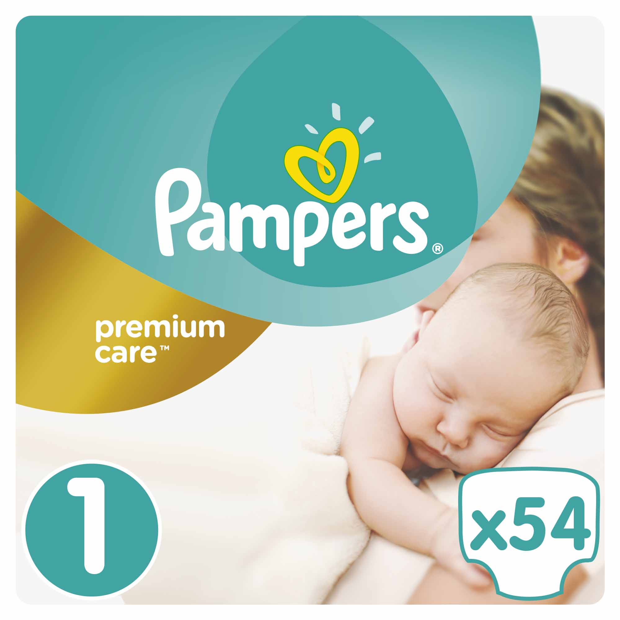 Pampers Premium Care Jumbo Pack No.1 (Newborn) 2-5 kg Βρεφικές Πάνες, 54 τεμάχια