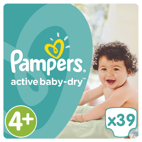 Pampers Active Baby Dry Value Pack No.4+ (Maxi+) 9-16 kg Βρεφικές Πάνες, 39 τεμάχια