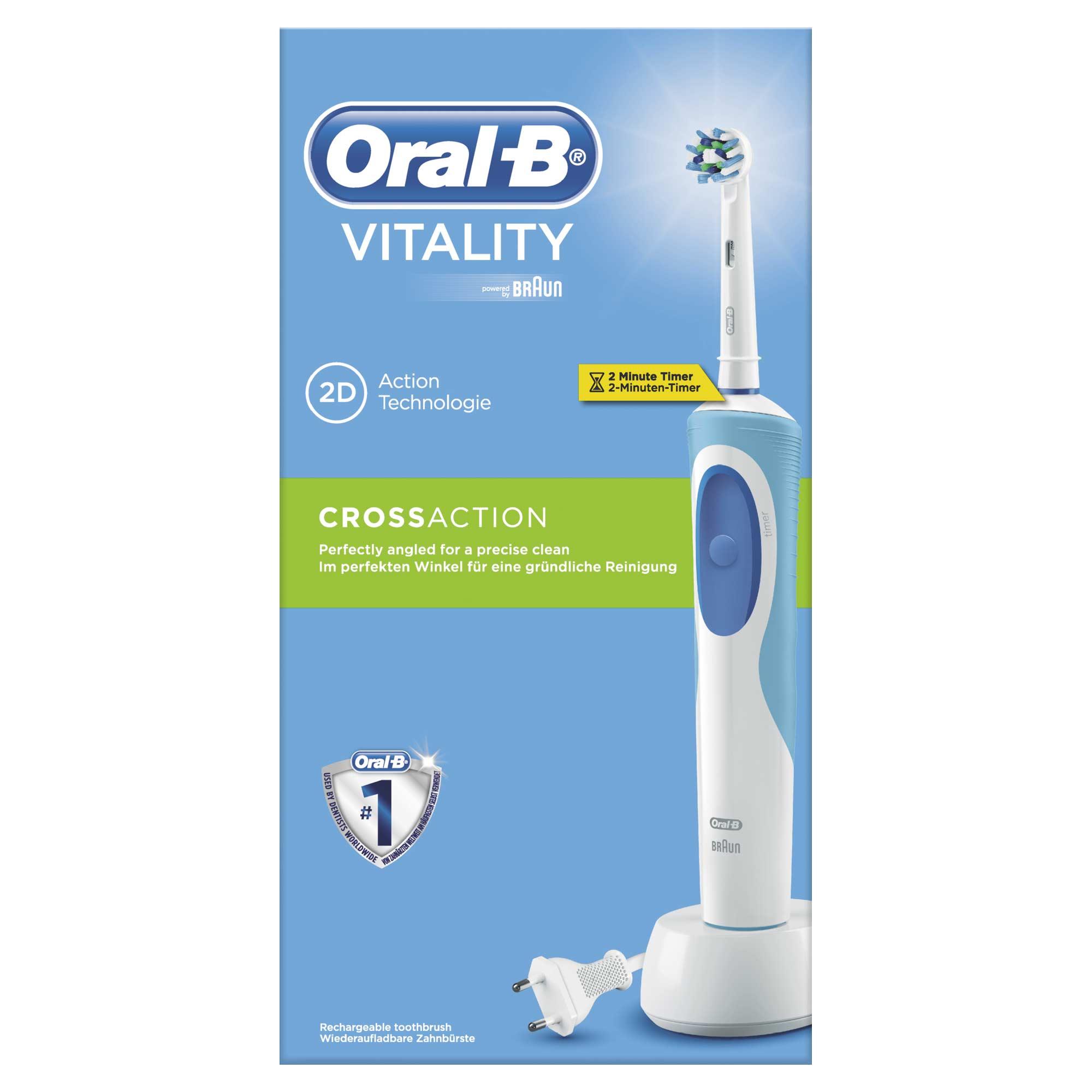 Oral B Vitality Pro Timer Cross Action 2D Ηλεκτρική Οδοντόβουρτσα, 1 τεμάχιο & 1 Κεφαλή Cross Action