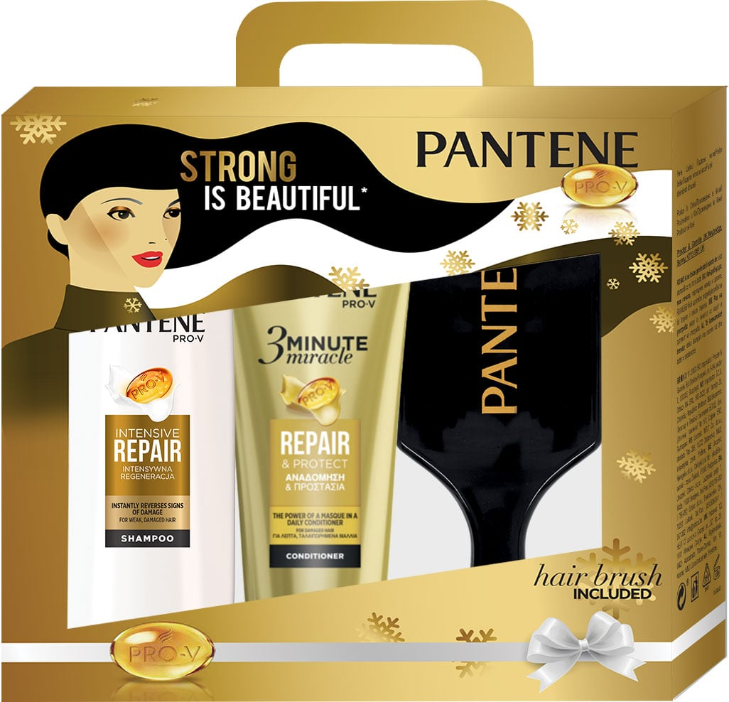 Pantene Pro-V Promo Pack Strong is Beautiful με Σαμπουάν Αναδόμησης & Προστασίας, 360ml, 3 Minute Miracle Conditioner Αναδόμησης & Προστασίας, 200ml & ΔΩΡΟ Βούρτσα Μαλλιών