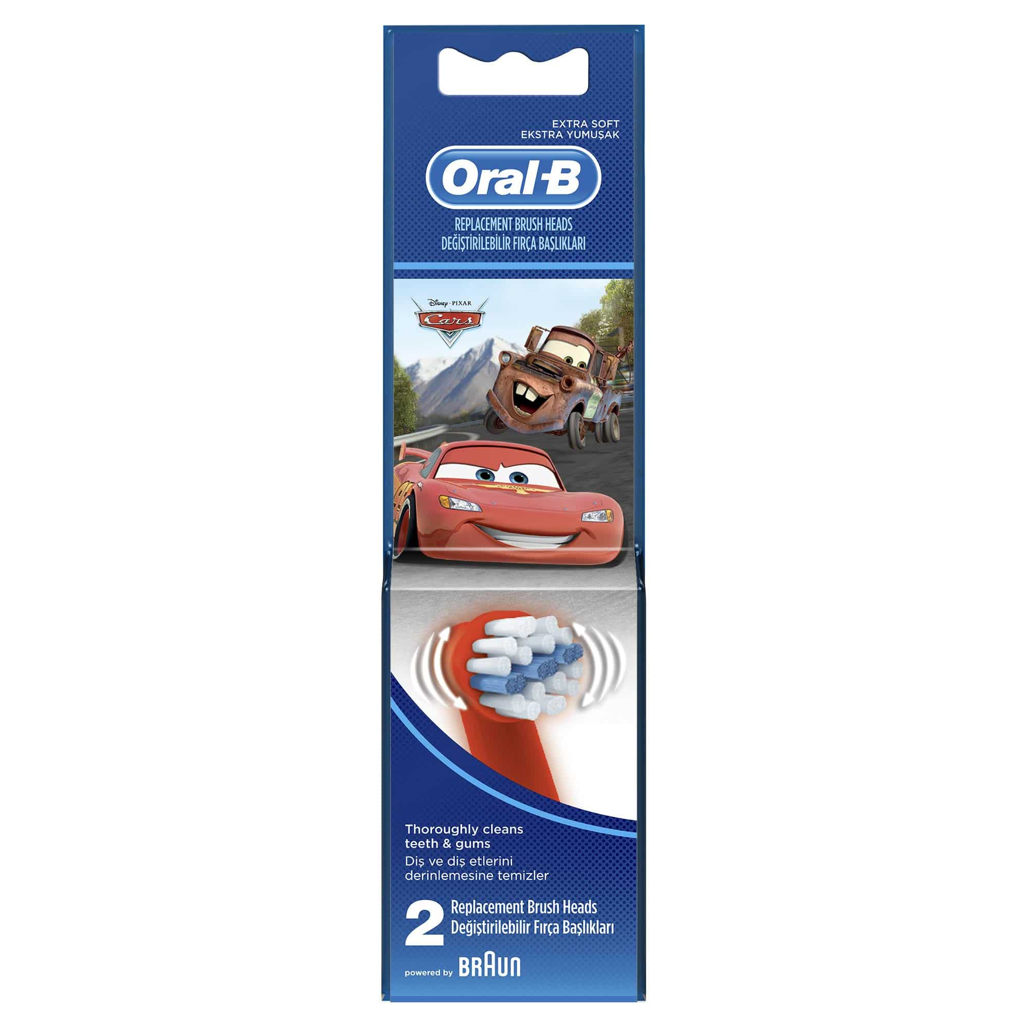 OralB Stages Power Kids Cars Ανταλλακτικά Παιδικής Ηλεκτρικής Οδοντόβουρτσας, 2 τεμάχια