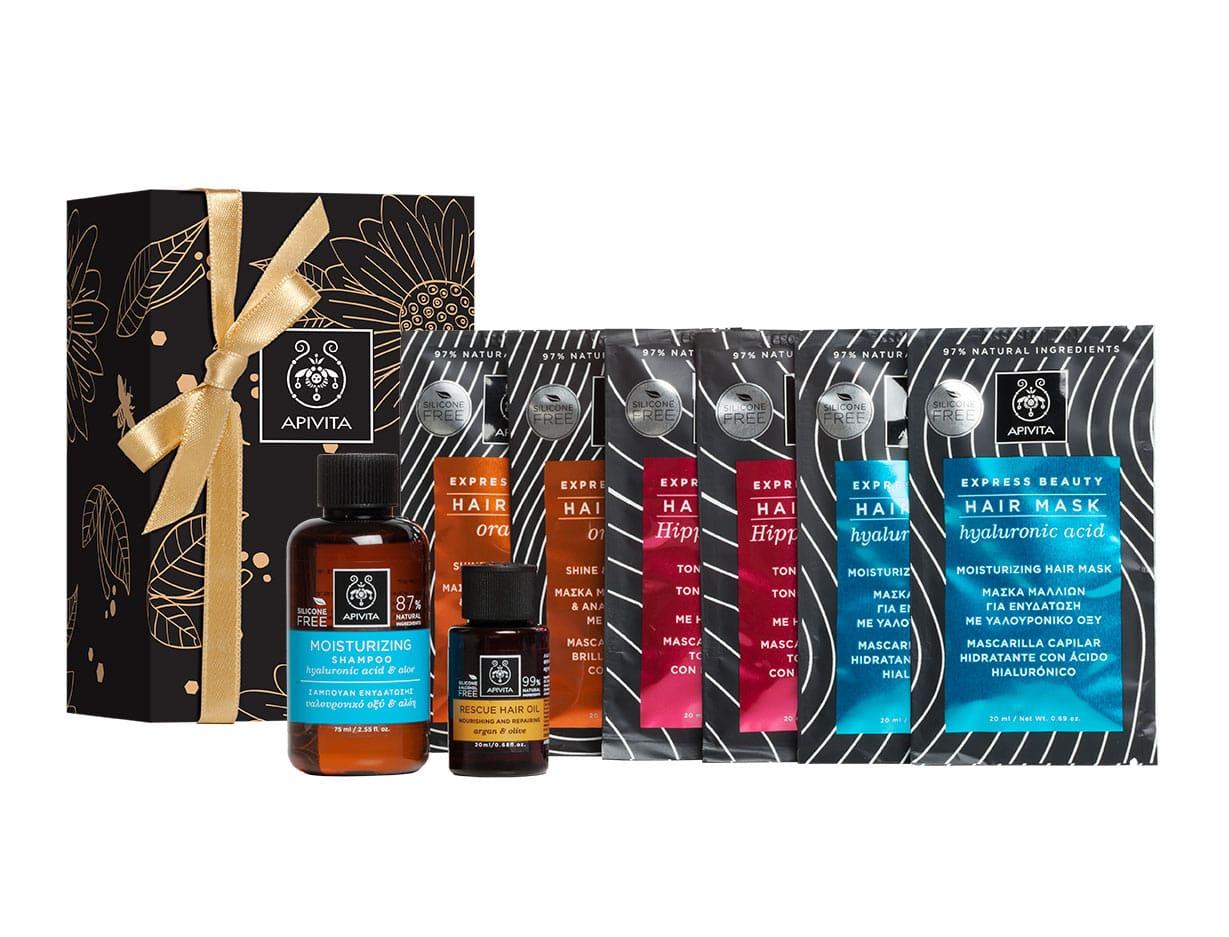 Apivita PROMO με Moisturizing Hair Mask Μάσκα Ενυδάτωσης, 2 x 20ml, Tonic Hair Mask Τονωτική Μάσκα Μαλλιών, 2 x 20ml, Shine & Revitalizing Hair Mask Μάσκα Λάμψης, 2 x 20ml & ΔΩΡΟ Moisturizing Shampoo, 75ml & Rescue Oil, 20ml