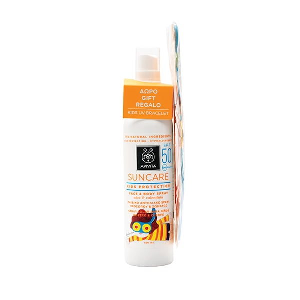 Apivita Suncare Kids Protection Face & Body Spray SPF50 Παιδικό Αντηλιακό Προσώπου & Σώματος, με αλόη & καλέντουλα, 150ml & ΔΩΡΟ Φωτοευαίσθητο Βραχιόλι