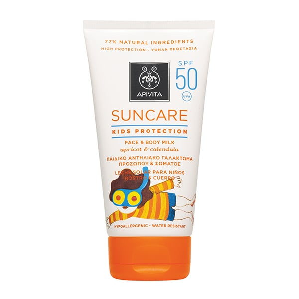 Apivita Suncare Kids Protection Face & Body Milk SPF50 with Apricot & Calendula, 150ml