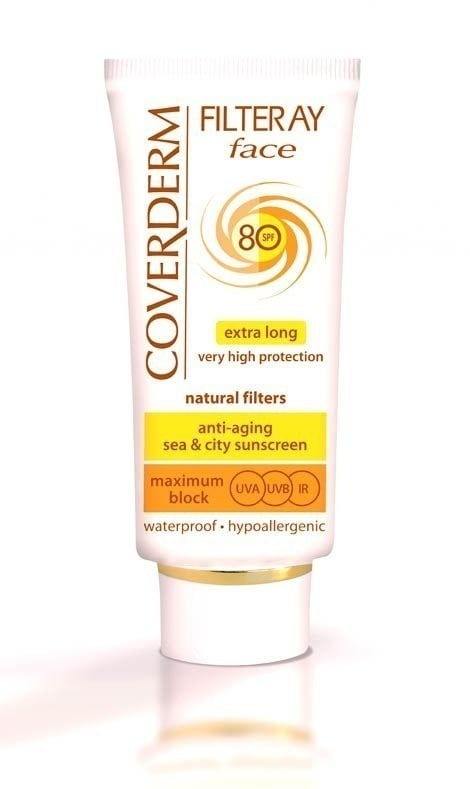 Coverderm Filteray Face SPF 80, Με φυσικά φωτοσταθερά φίλτρα, Για 3 τύπους ηλιακής ακτινοβολίας, UVA, UVB και IR, 50ml