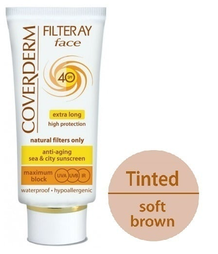 Coverderm Filteray Face SPF 40 Tinted (Soft Brown), Με φυσικά φωτοσταθερά φίλτρα, Για 3 τύπους ηλιακής ακτινοβολίας, UVA, UVB και IR,   50ml