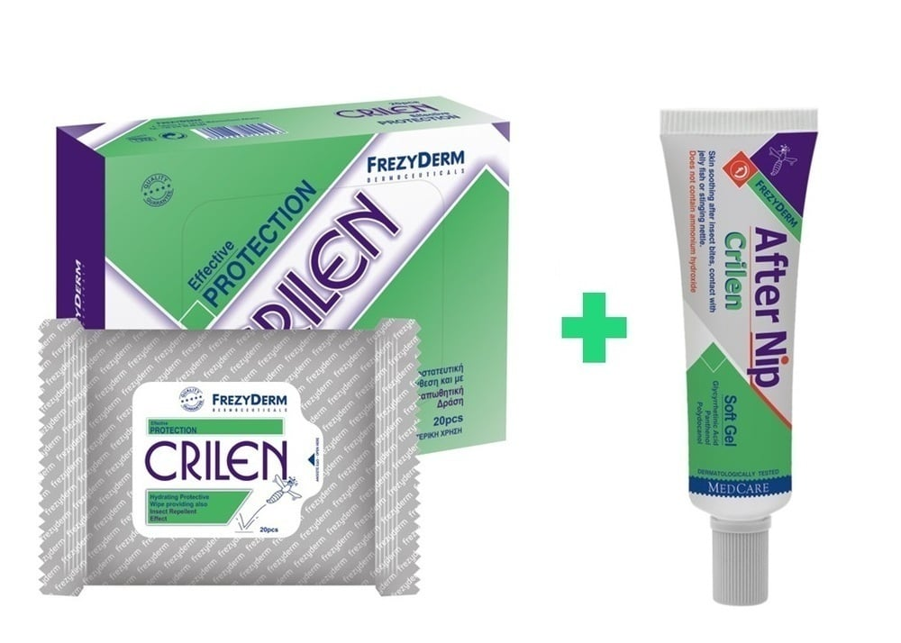 FREZYDERM Πακέτο Εντομοαπωθητικής Προστασίας Frezyderm Crilen Wipes 20 Μαντηλάκια & FREZYDERM CRILEN AFTER NIP,Απαλό gel που ανακουφίζει το ερεθισμένο δέρμα από το τσίμπημα εντόμων καθώς και την επαφή με τσούχτρες, μέδουσες, τσουκνίδες, 30 ml