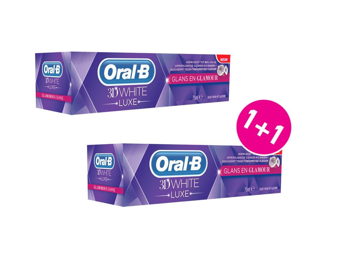 OralB 3D White Luxe Glamorous Shine Λευκαντική Οδοντόκρεμα (1+1 ΔΩΡΟ), 2 x 75 ml