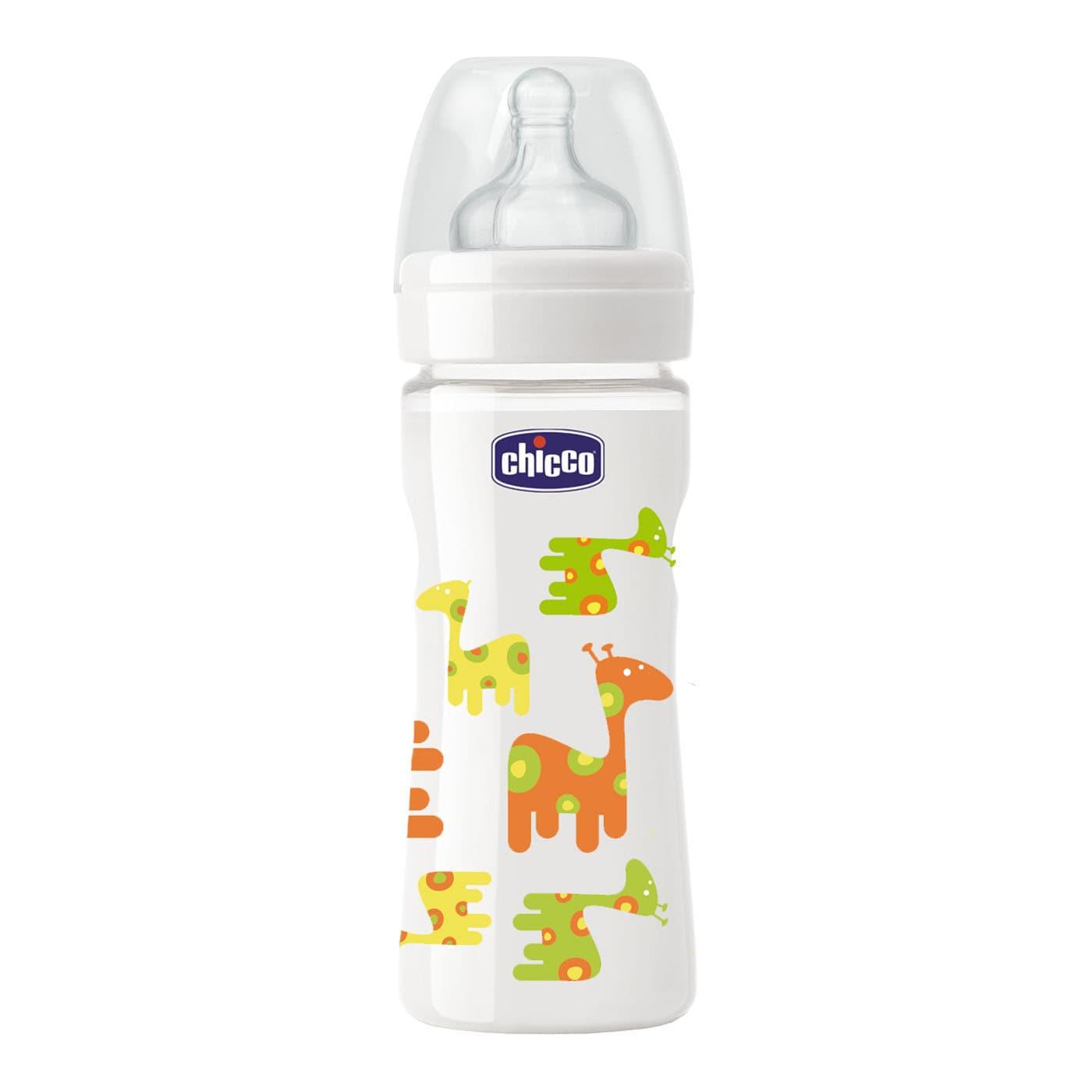 Chicco Nature Glass Well Being 0m+ - Giraff, Γυάλινο μπιμπερό κανονικής ροής με θηλή σιλικόνης, 0% BPA, 240ml