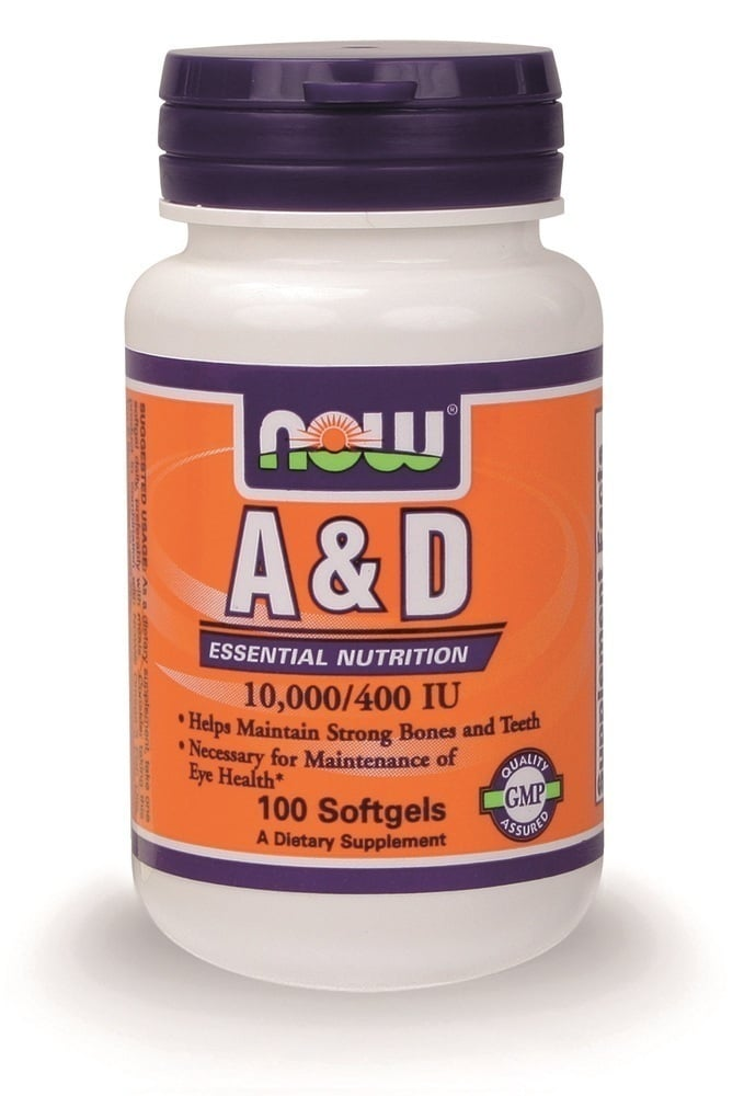 Now Vitamin A & D (10,000 IU A / 400 IU D-3), 100 softgels