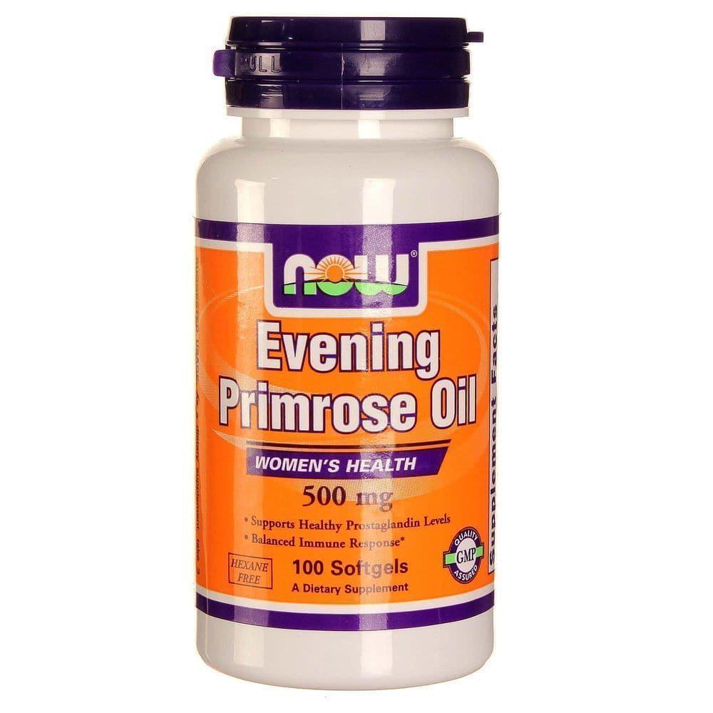 Now Evening Primrose Oil 500 mg, w/ GLA, 100 softgels