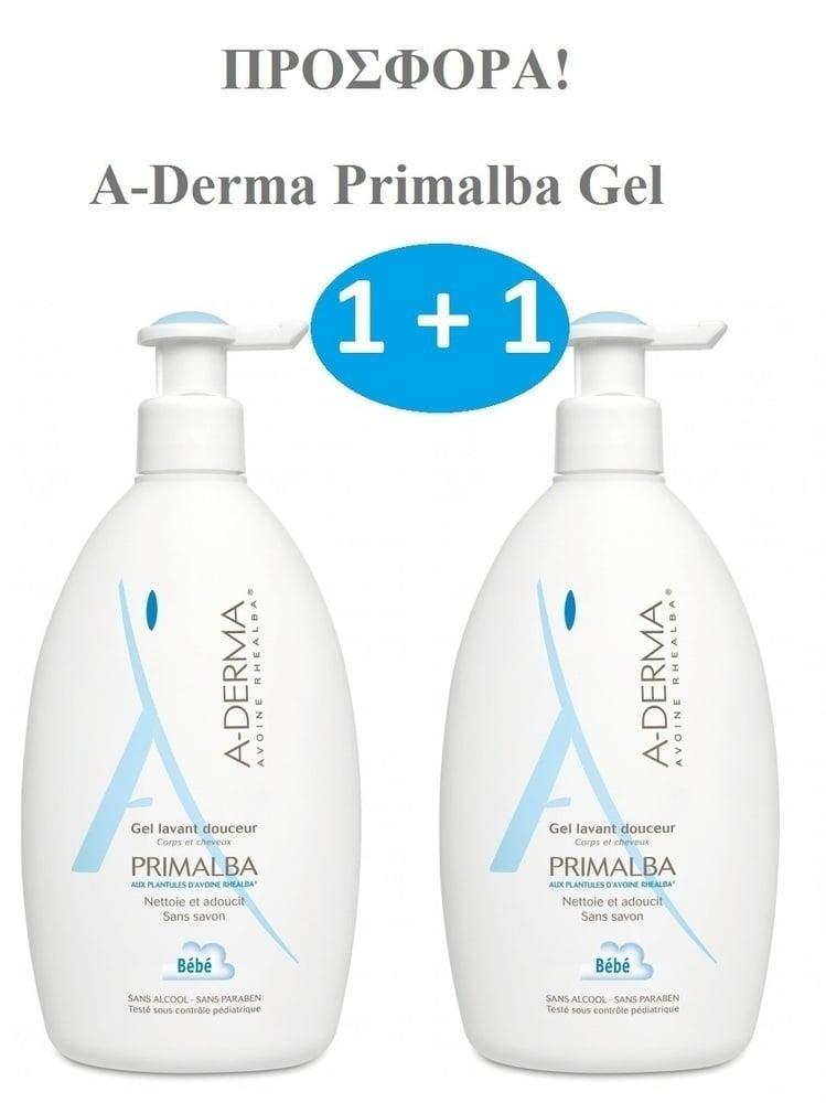 2x A-Derma PRIMALBA Gel Lavant Douceur 2 σε 1, ΠΡΟΣΦΟΡΑ (1+1), Απαλό αφρίζον ζελ καθαρισμού για το σώμα & τα μαλλιά, Κατάλληλο για τον καθαρισμό του βρέφους, του μωρού & του μικρού παιδιού, 2x 500ml