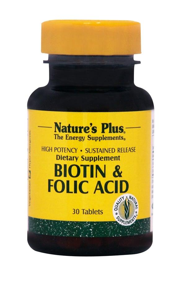 Nature's Plus Biotin 2mg & Folic Acid 800mcg SR Συμπλήρωμα Βιοτίνης, 30 tabs
