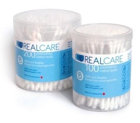 Real Care Μπατονέτες από 100% αγνό βαμβάκι, 100 τεμάχια