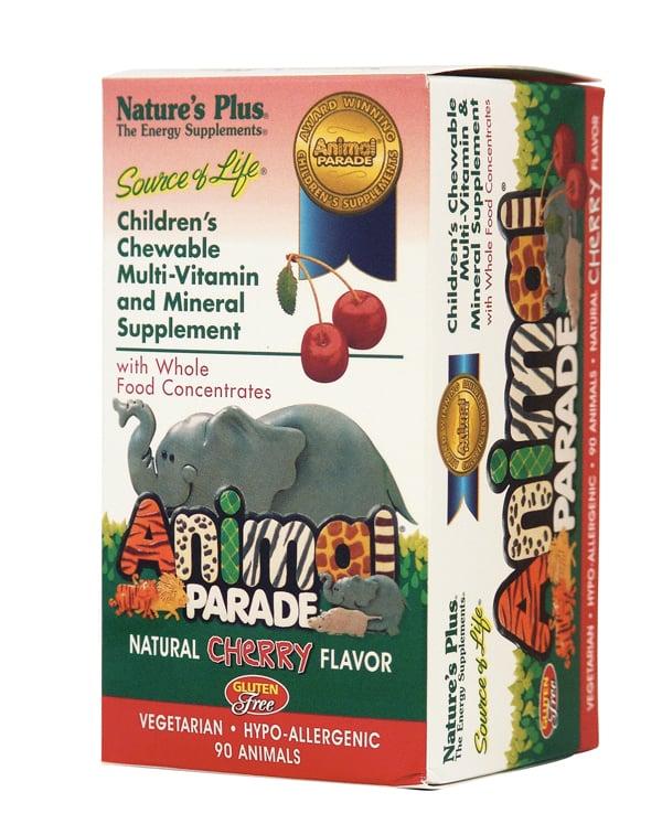 Nature's Plus Animal Parade Cherry Παιδική Πολυβιταμίνη σε Ζελεδάκια, με γεύση κεράσι, 90 gummies