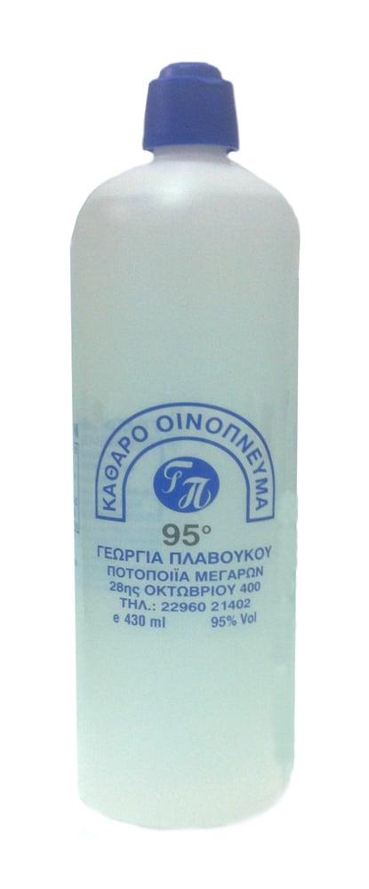 Καθαρό Οινόπνευμα 95ο βαθμών Γ. Πλαβούκου, Κατάλληλο για άμεση αντισηψία σε τραυματισμούς, απολυμάνσεις & καθαρισμούς, 430ml
