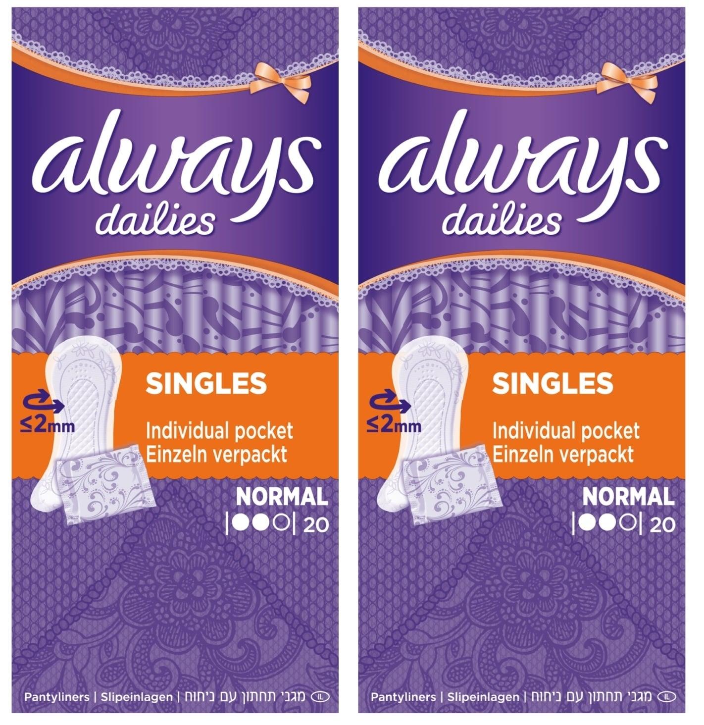 Always Dailies Normal (1+1 ΔΩΡΟ) Σερβιετάκια για Καθημερινή Χρήση, 2 x 20 τεμάχια
