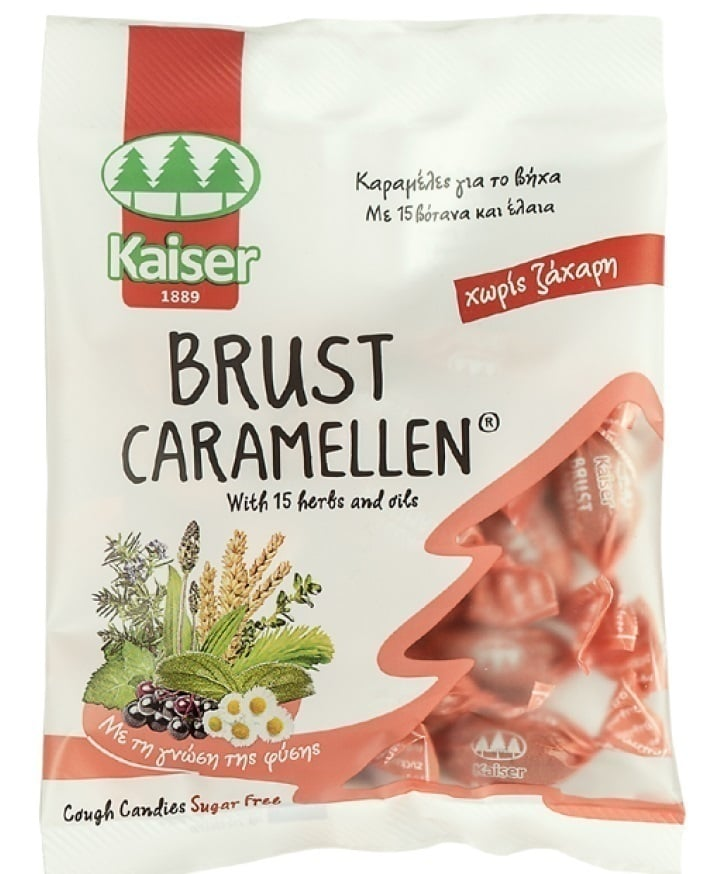 Kaiser Brust Caramellen 60g, Candies for cough with 15 herbs and oils, sugar free