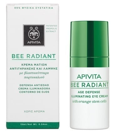 Apivita Bee Radiant Eye Cream Κρέμα Ματιών για όλες τις ηλικίες που έχουν ανάγκη ενυδάτωσης & λάμψης, 15ml