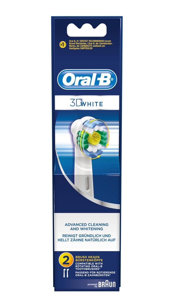 OralB 3D White Ανταλλακτικά Βουρτσάκια, Η ηλεκτρική κεφαλή διαθέτει ειδική υποδοχή γυαλίσματος για την ενίσχυση της φυσικής λευκότητας των δοντιών, Καθαρίζει σε βάθος, 2 τεμ.