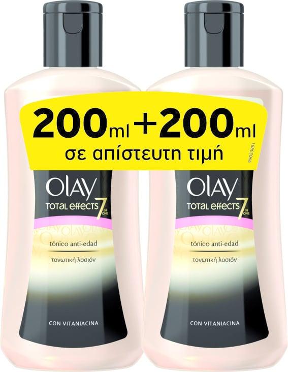 2 x Olay Total Effects 7 Αντιγηραντική Λοσιόν Καθαρισμού Προσώπου - ΠΡΟΣΦΟΡΑ ( 1+1 ), 2 x 200ml