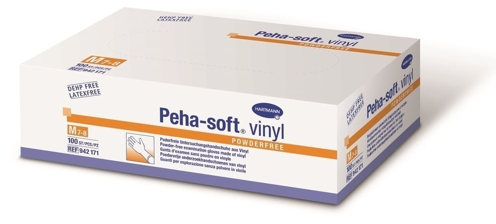 Hartmann Peha Soft Vinyl Powderfree Εξεταστικά Γάντια μη αποστειρωμένα από βινύλιο, χωρίς πούδρα & λάτεξ, Μέγεθος Small, 100 τεμάχια