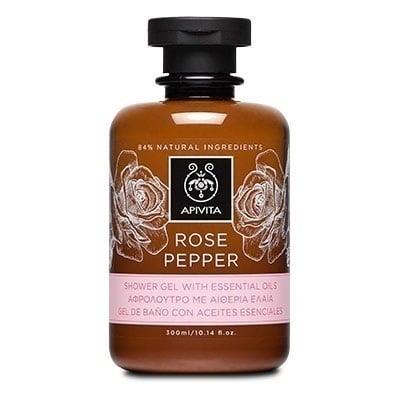 Apivita Rose Pepper Αφρόλουτρο Ενυδατικό Αφρόλουτρο με Τριαντάφυλλο & Μαύρο Πιπέρι, 300ml