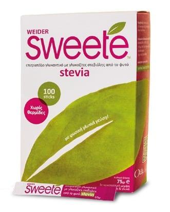 Sweete Στέβια, Υποκατάστατο Ζάχαρης με Στέβια, 100 sticks