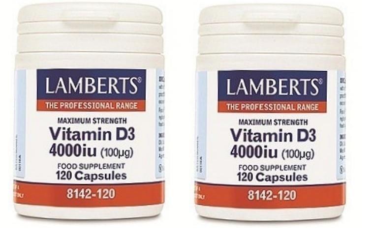Lamberts Vitamin D3 4000iu (100μg), 2x 120caps