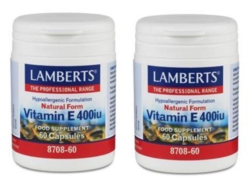 2x Lamberts Vitamin E 400 iu Natural form, 2x 60 caps