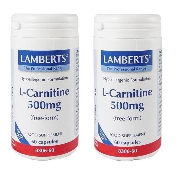 2x LAMBERTS L-Carnitine 500MG NEW HIGHER STRENGTH, 2x 60 caps