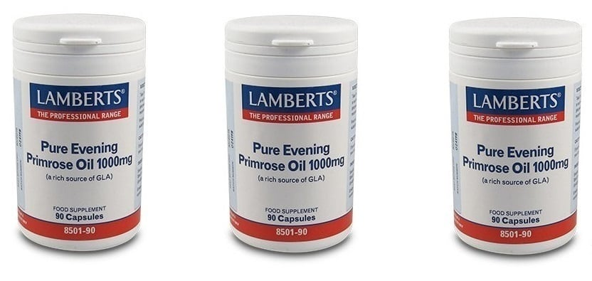 3x LAMBERTS PURE EVENING PRIMROSE OIL 1000mg, 3x 90 caps