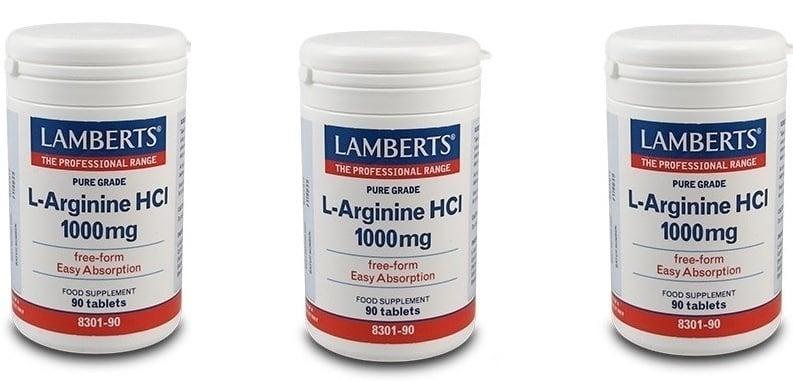 3x LAMBERTS L-ARGININE HCI 1000mg, 3x 90 tabs