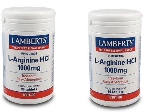 2x LAMBERTS L-ARGININE HCI 1000mg, 2x 90 tabs