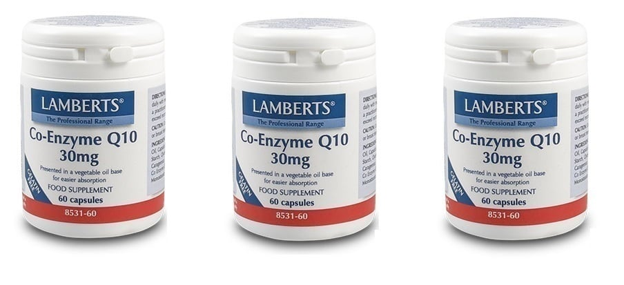 3x LAMBERTS CO-ENZYME Q10 30MG, 3x 60 caps