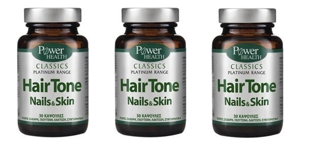 3x Power Health Platinum Hair Tone Nails & Skin, 3 x 30 caps.
