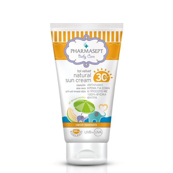 Pharmasept Tol Velvet Baby Natural Sun Cream SPF30 Βρεφική Αντηλιακή Κρέμα για Πρόσωπο & Σώμα, 100 ml