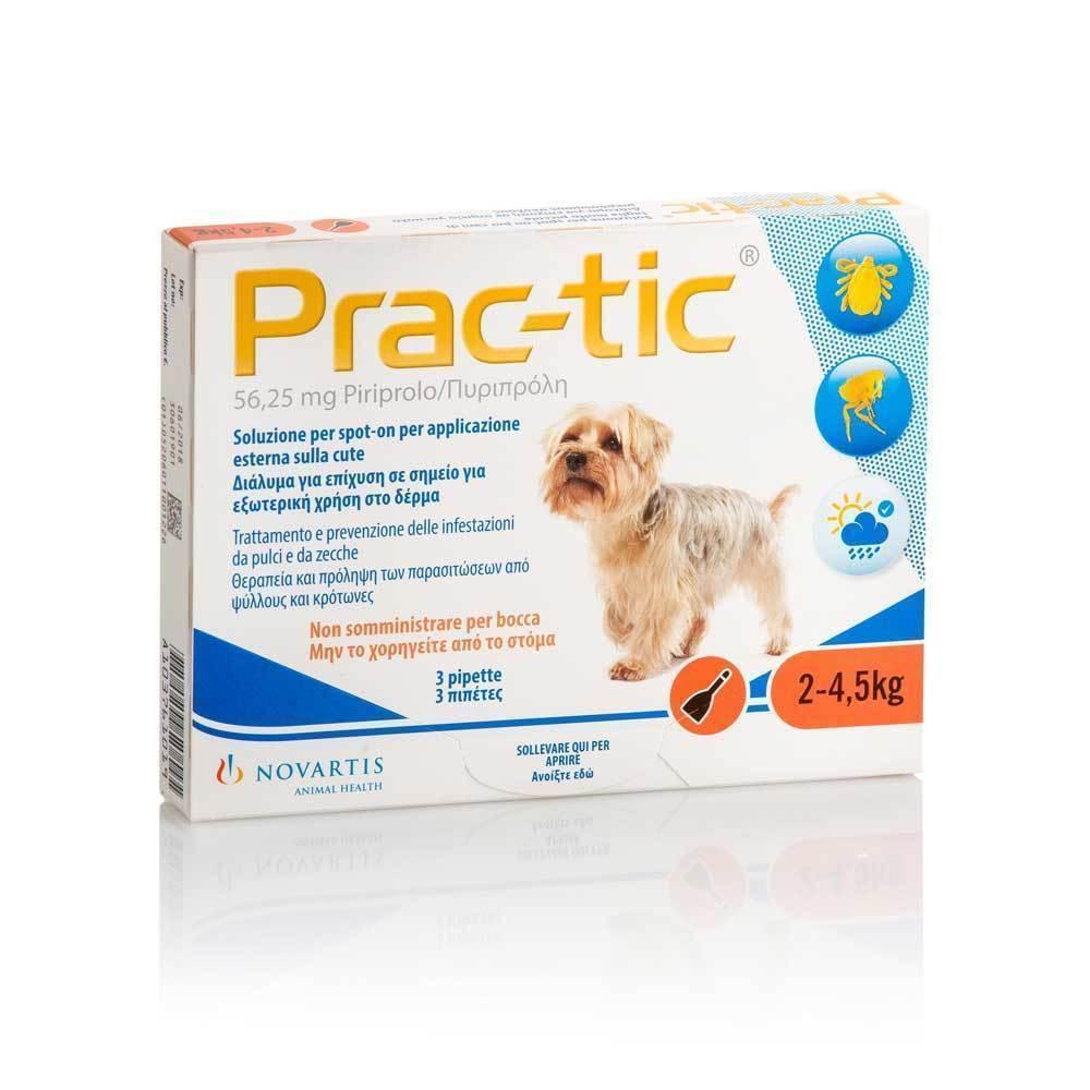 Premier Shukuroglou Prac-Tic Διάλυμα για τη Θεραπεία & την Πρόληψη των Παρασιτώσεων από Ψύλλους & Κρότωνες, για Σκύλους από 2 - 4,5 kg, 3 πιπέτες x 0,45 ml
