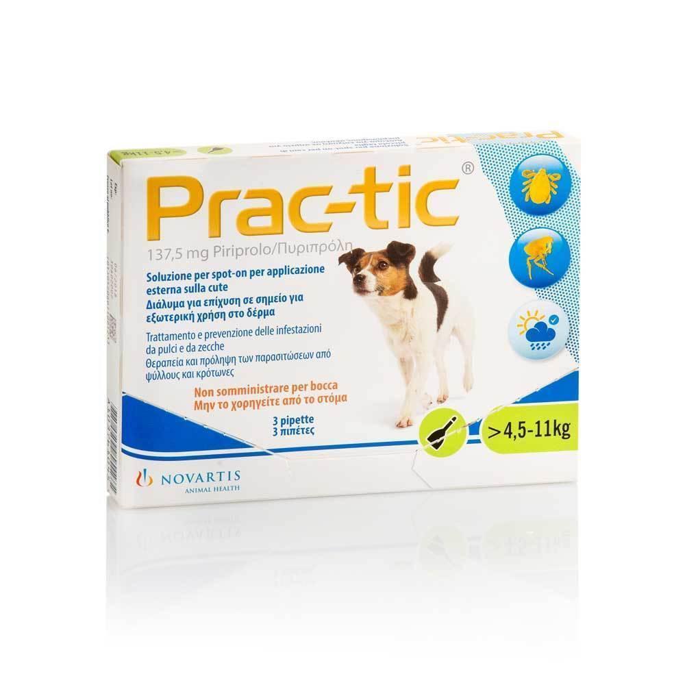 Premier Shukuroglou Prac-Tic Διάλυμα για τη Θεραπεία & την Πρόληψη των Παρασιτώσεων από Ψύλλους & Κρότωνες, για Σκύλους από 4,5 - 11 kg, 3 πιπέτες x 1,1 ml