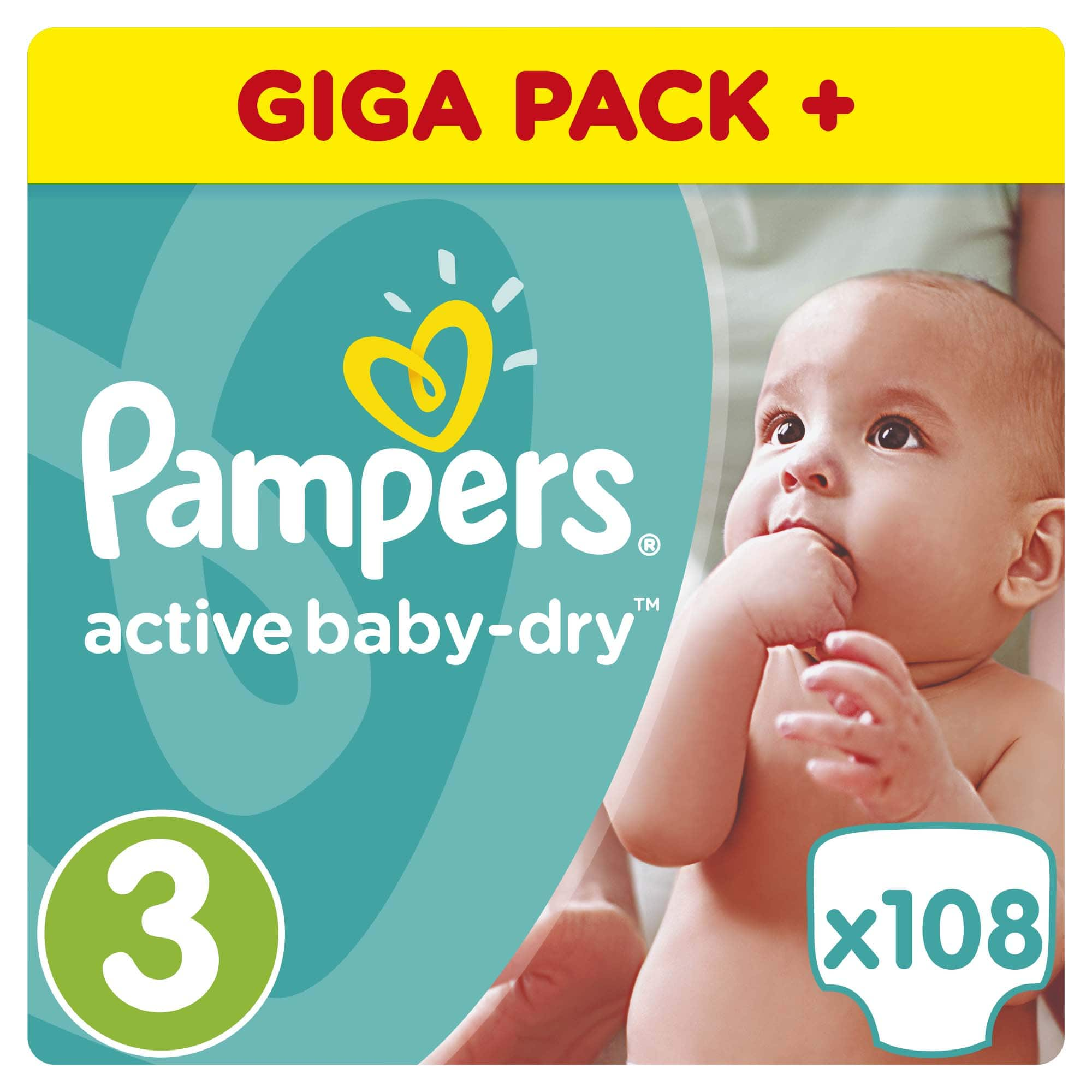 Pampers Active Baby Dry Giant Pack No.3 Midi (4-9 kg) Βρεφικές Πάνες, 108 τεμάχια