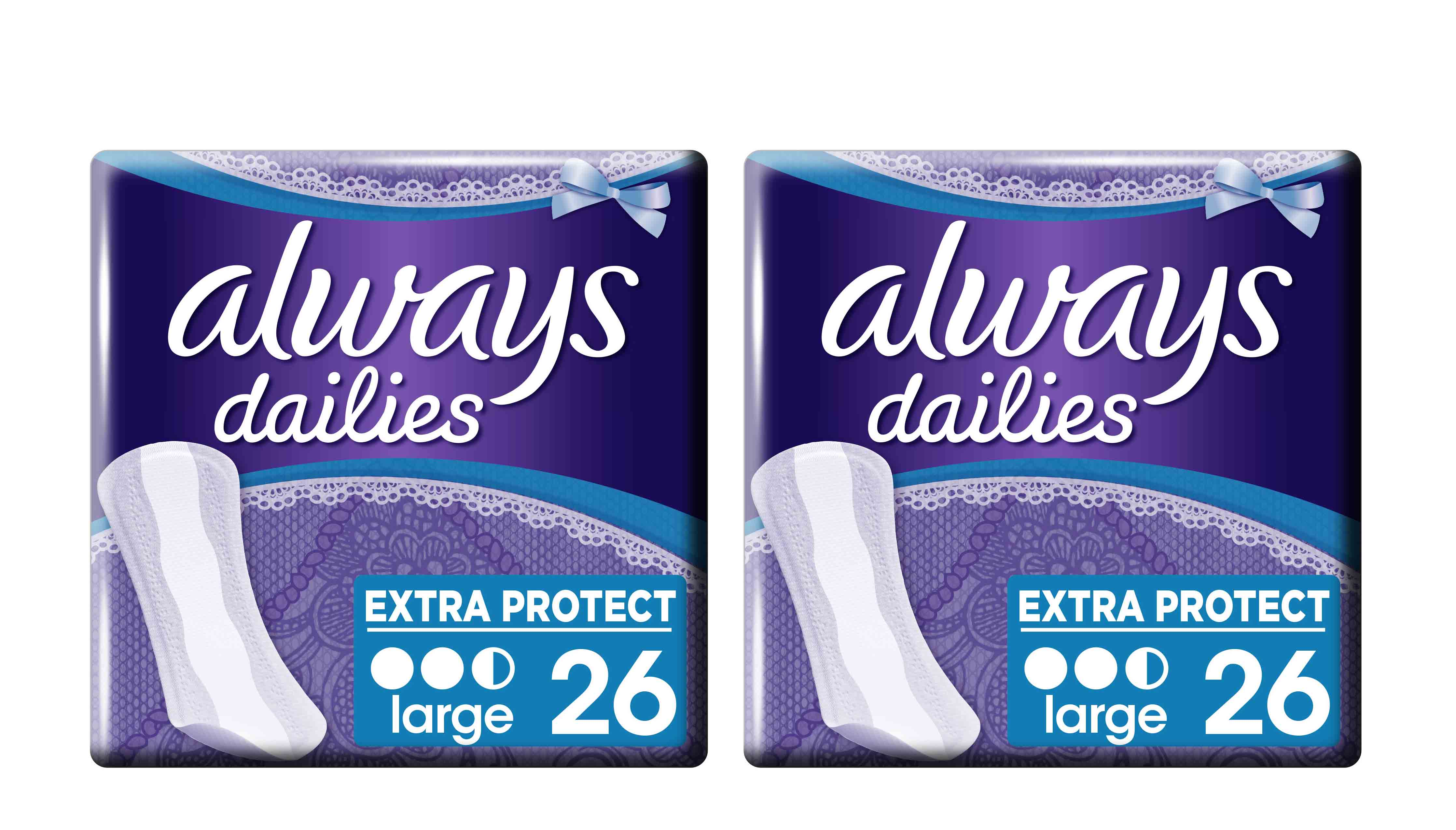 2 x Always Dailies Large Extra Protect (1+1) Σερβιετάκια, 2 x 26 τεμάχια