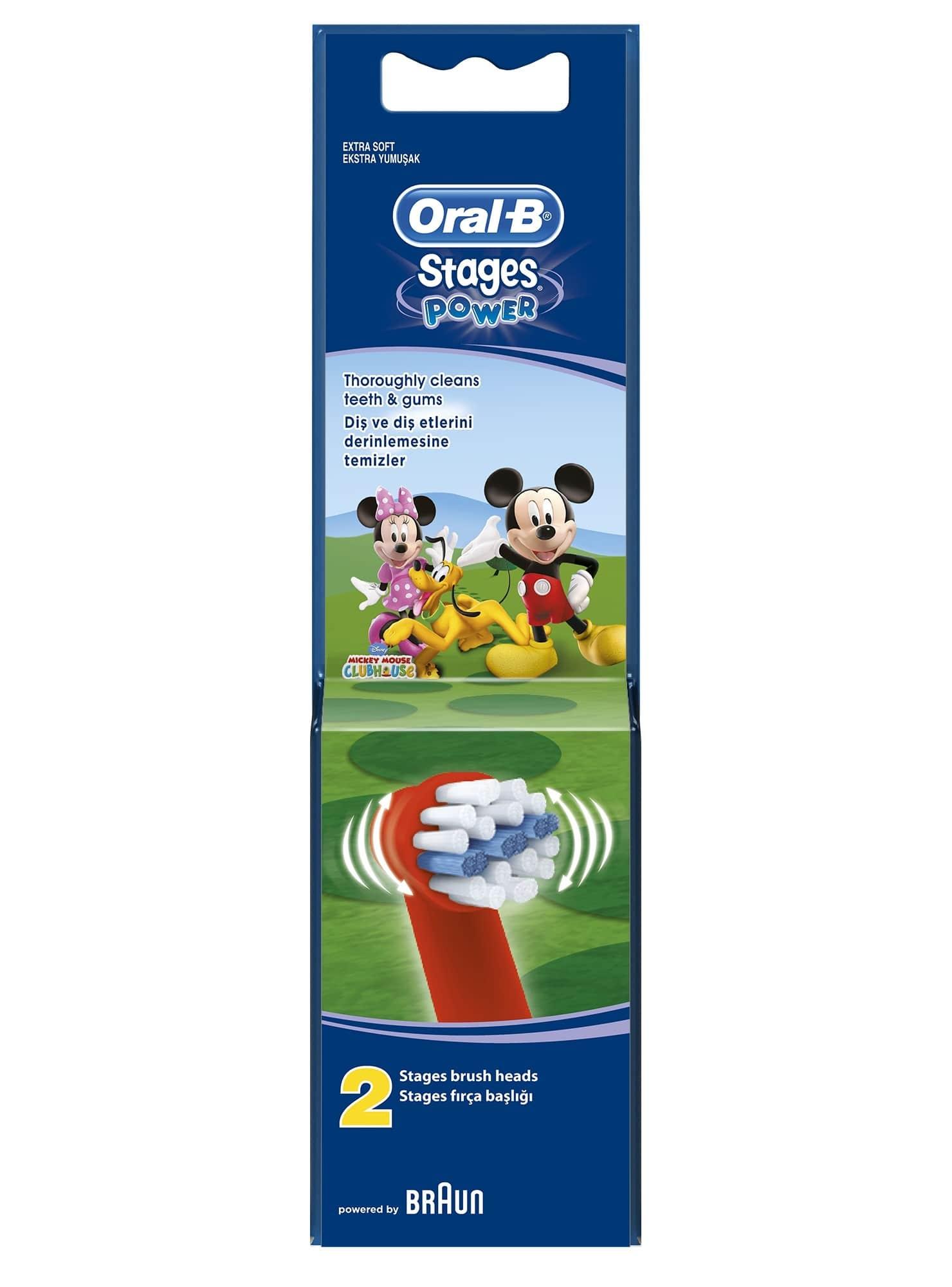 OralB Stages Power Kids Mickey Ανταλλακτικά Παιδικής Ηλεκτρικής Οδοντόβουρτσας, 2 τεμάχια