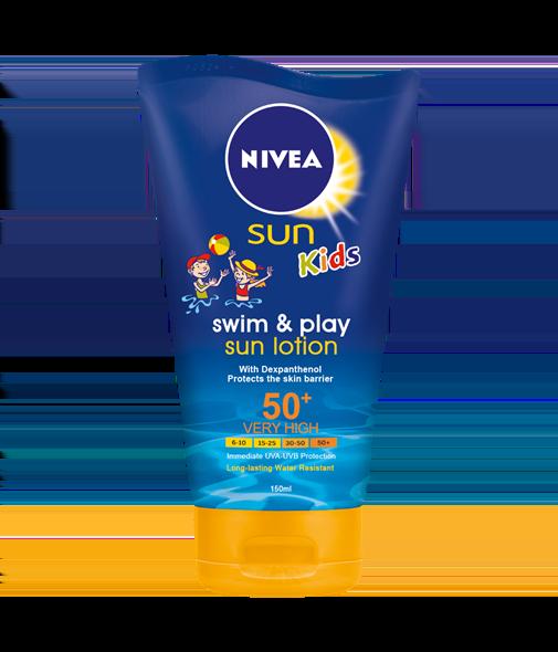 Nivea Sun Κids Swim & Play SPF50 Αντηλιακή Λοσιόν για Παιδιά έξτρα ανθεκτική στο νερό για πιο ξέγνοιαστο παιχνίδι, 150ml