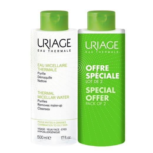 2 x Uriage Eau Thermale Eau Micellaire (1+1 ΔΩΡΟ) Καθαριστική Λοσιόν Προσώπου & Ματιών για τη Μικτή προς Λιπαρή Επιδερμίδα, 2 x 500ml
